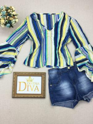 divinadivamodafeminina.com.br blusa manga longa flare listrada amarela verde