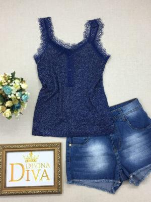 divinadivamodafeminina.com.br regata em lurex azul alca de renda