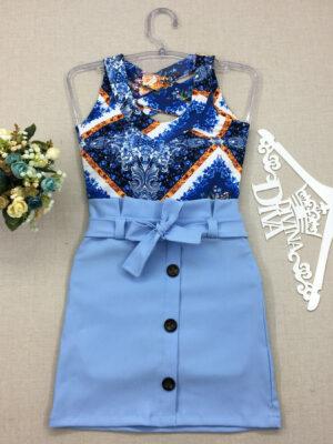 divinadivamodafeminina.com.br saia azul com amarracao e botoes decorativos