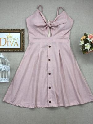 divinadivamodafeminina.com.br vestido linho rosa claro com amarracao