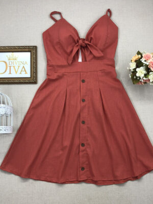 divinadivamodafeminina.com.br vestido linho salmao com amarracao