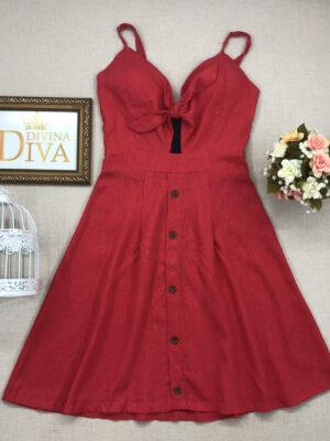 divinadivamodafeminina.com.br vestido linho vermelho com amarracao