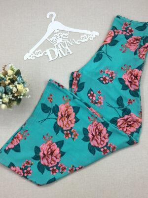 divinadivamodafeminina.com.br calca pantacourt midi fundo turquesa com floral