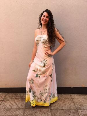 divinadivamodafeminina.com.br vestido longo floral rosa com abertura na lateral