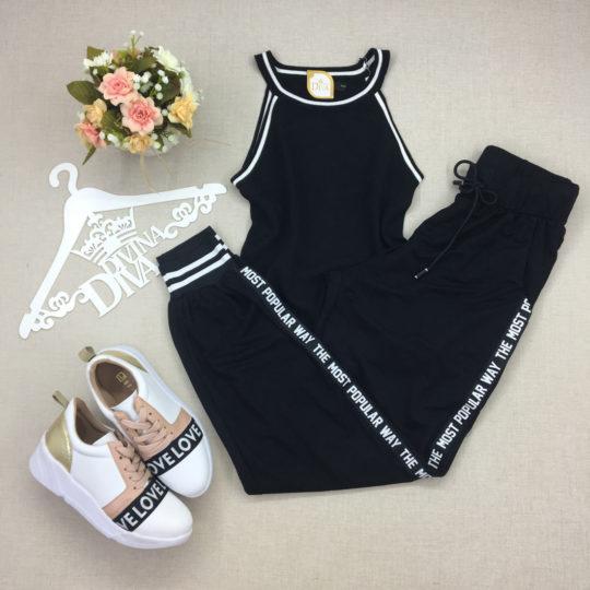 divinadivamodafeminina.com.br calca jogger preta com punho e tira branca na lateral
