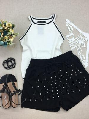 divinadivamodafeminina.com.br shorts preto cos de elastico e apliques em perola