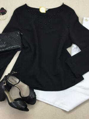 divinadivamodafeminina.com.br blusa preta com babado na manga bordada com perola